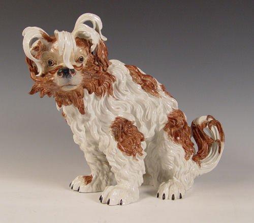 1001: DRESDEN PORCELAIN BOLOGNESE LION DOG 15'' H