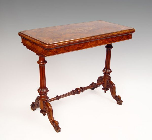 1004: HERTER BROS. HIGH VICTORIAN BURLED GAME TABLE