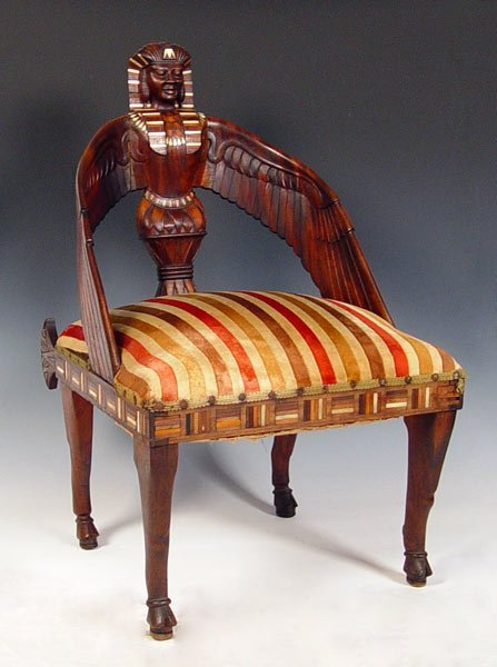 1005A: EGYPTIAN REVIVAL CARVED & INLAY CHAIR