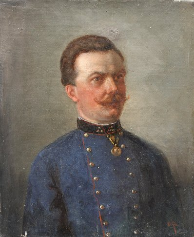 1014: EARLY AUSTRO HUNGARIAN OFFICER PAINTING