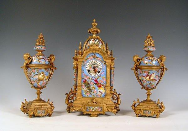 1019: L. MARTI FRENCH ENAMEL ROCOCO CLOCK GARNITURE SET