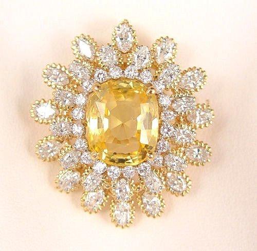 1047: OSCAR HEYMAN 13C YELLOW SAPPHIRE & DIAMOND BROOCH
