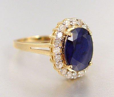 1012B: 5.75 ct  SAPPHIRE & DIAMOND RING SIZE 7