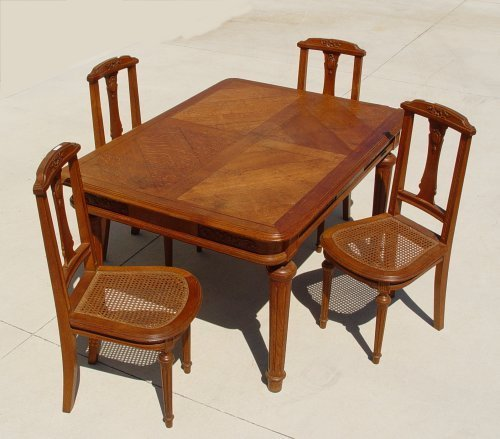 1014A: FRENCH DINING OAK TABLE & 4 CHAIRS