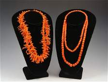 1452 BRANCH CORAL NECKLACE AND CORAL GLASS BEADS
