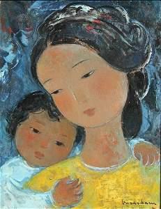 106: VU CAO DAM MERE ET ENFANT O/B PAINTING 1956
