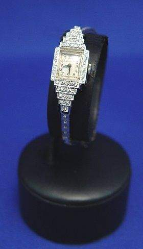 LADY'S HAMILTON DIAMOND WRIST WATCH 14k WHITE