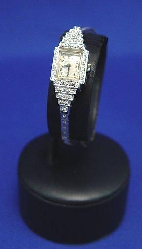 16A: LADY'S HAMILTON DIAMOND WRIST WATCH 14k WHITE