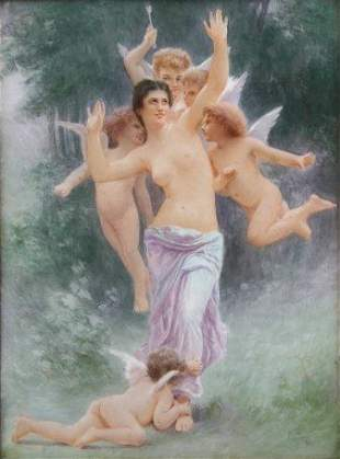 LIMOGES PAINTING ON PORCELAIN OF NUDE WITH ANGELS
