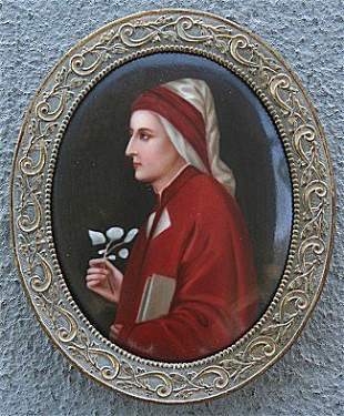 OVAL PAINTING ON PORCELAIN CIRCA 1910 OF APOSTLE