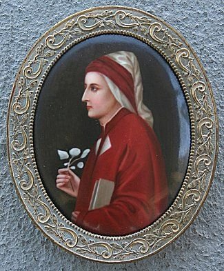 14: OVAL PAINTING ON PORCELAIN CIRCA 1910 OF APOSTLE