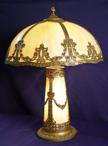 8: 1920's BENT PANEL SLAG GLASS LAMP