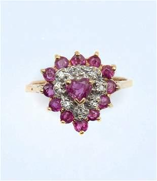 14K DIAMOND RUBY RING