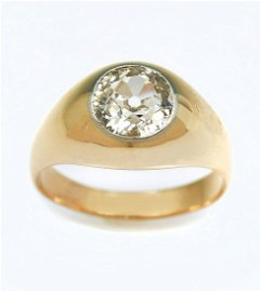 GENTS 14K 1.93 CT EUROPEAN CUT DIAMOND SOLITAIRE RING