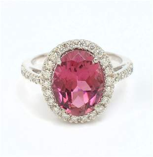 PLATINUM PINK TOURMALINE DIAMOND RING BY ORIANNE