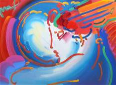 "PETER MAX MIXED MEDIA ""I LOVE THE WORLD"""