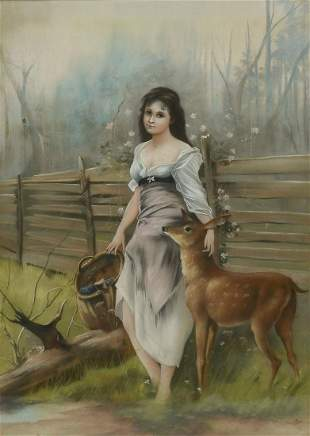 LARGE PASTEL WITH MAIDEN AND FAWN