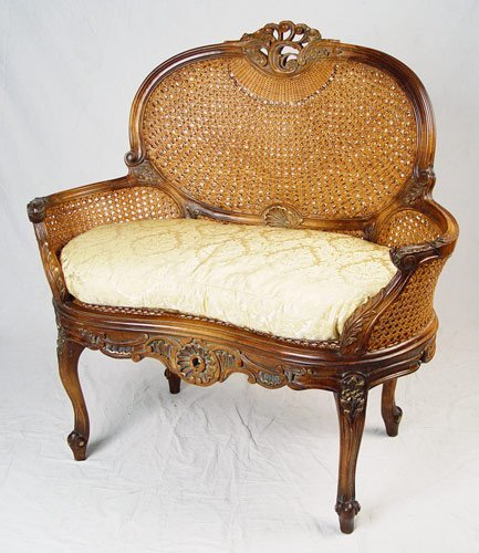 1: FRENCH LOUIS XVI STYLE CARVED AND CANED SETTEE