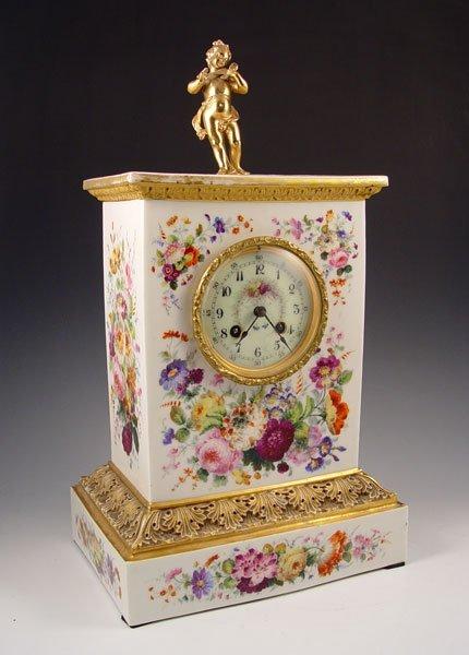 4: OLD PARIS PORCELAIN CASE CLOCK