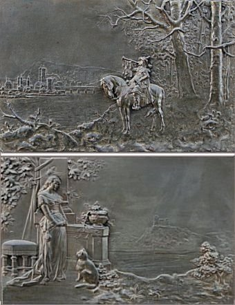 8: EMBOSSED METAL SCENIC PLAQUES/FINE MARBLE FRAMES