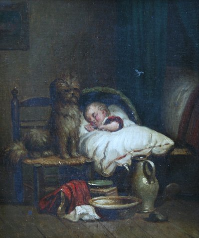 9: EARLY PAINTING OF MAN'S (CHILD'S) BEST FRIEND
