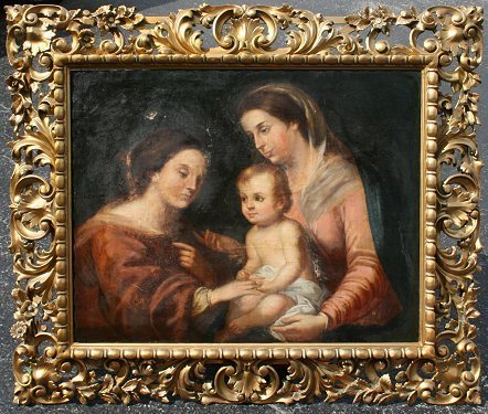 15: EARLY OLD MASTER STYLE HOLY FAMILY PAINTING