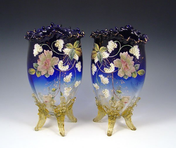 104: PR CORALENE DECORATED VICTORIAN ART GLASS VASES