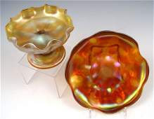 40B: 2 pc LC TIFFANY GOLD FAVRILE ART GLASS