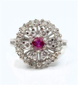 18KT WHITE GOLD LADIES DIAMOND AND RUBY RING