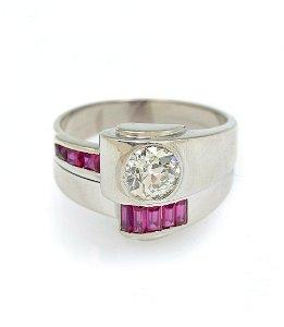 GENTS PLATINUM 1.05 CT OLD DIAMOND RING