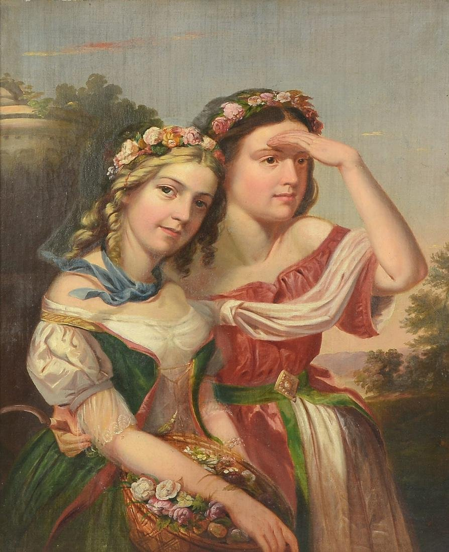 OPULENT 19TH CENTURY GENRE PAINTING OF TWO GIRLS