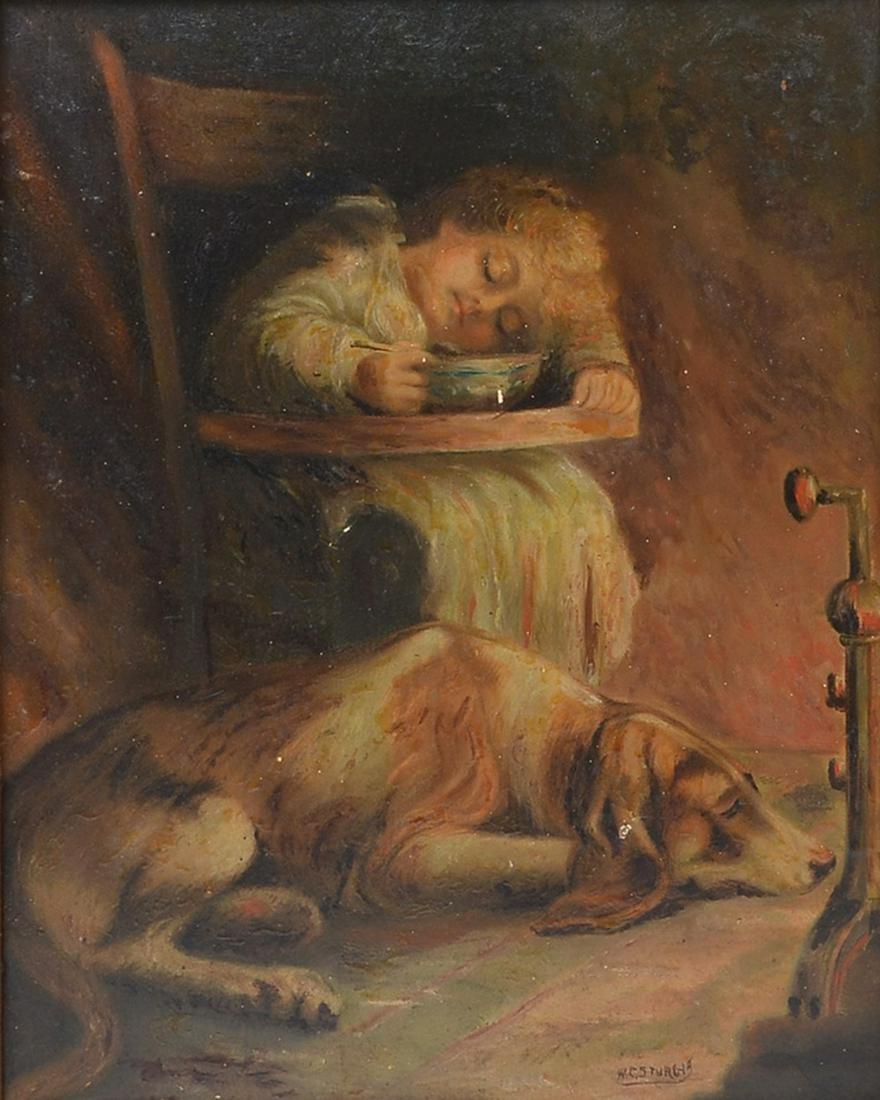 W. E. STURGIS PAINTING CHILD AND FAITHFUL PET DOG