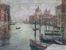 LARGE FRANZ GUILLERY CANAL SCENE IN VENICE ITALY