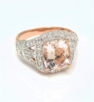 14K 374 CT MORGANITE DIAMOND RING BY ORIANNE