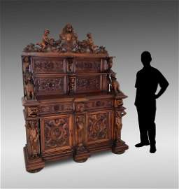MASSIVE CARVED WALNUT STEP BACK HUNT BOARD/CABINET