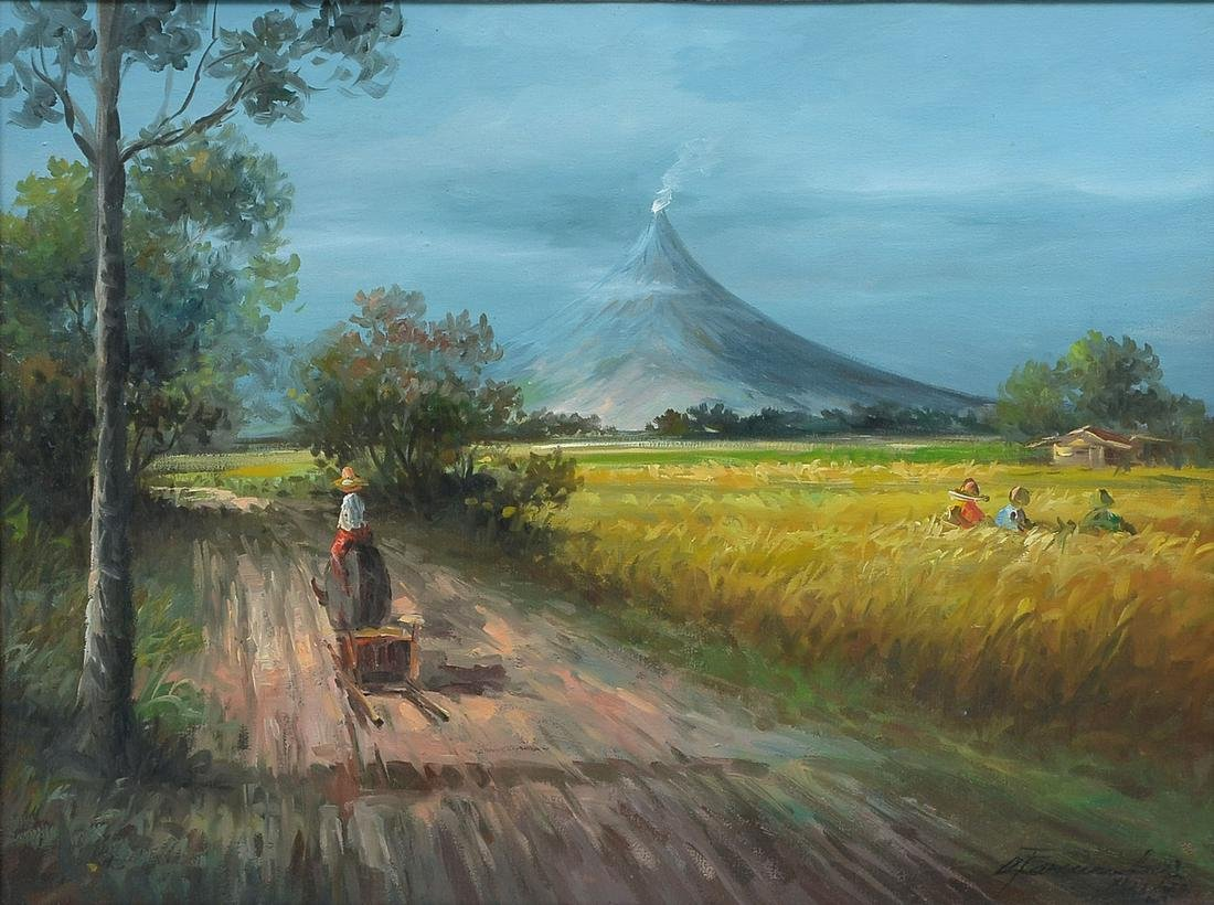ILLEGIBLY SIGNED FILIPINO LANDSCAPE PAINTING