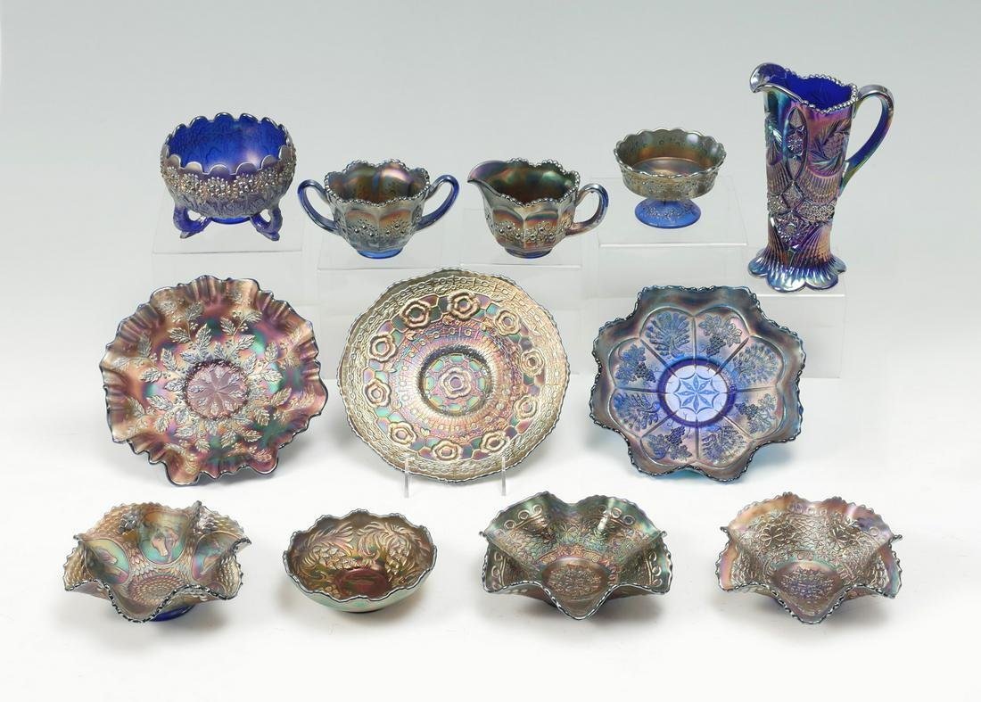 12 PC. CARNIVAL BLUE GLASS COLLECTION