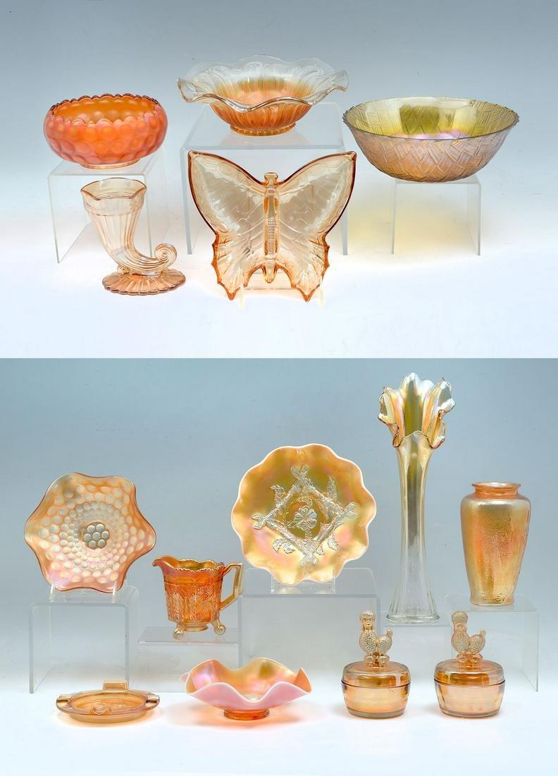 14 PC. ORANGE CARNIVAL GLASS COLLECTION