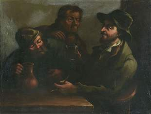 19th C OIL PAINTING AFTER LE NAIN