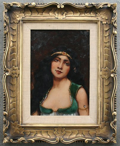 1015: GYPSY PAINTING GREAT FRAME M. G. CAMERON