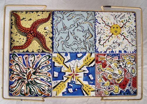 1059: 6 DALI TILES FOR MAURICE DUCHIN IN IRON TABLE - 2