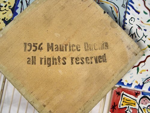 1059: 6 DALI TILES FOR MAURICE DUCHIN IN IRON TABLE - 3