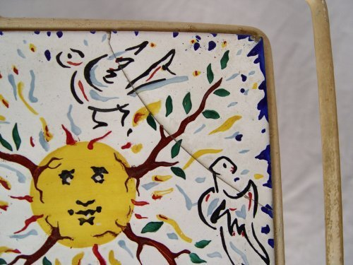 1059: 6 DALI TILES FOR MAURICE DUCHIN IN IRON TABLE - 4