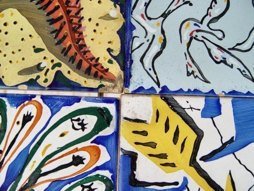 1059: 6 DALI TILES FOR MAURICE DUCHIN IN IRON TABLE - 5
