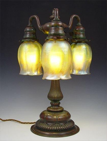 1101: TIFFANY STUDIOS LAMP 309 FAVRILE SHADES