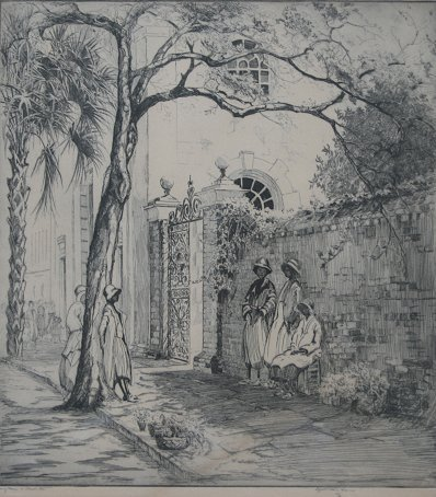 1190: O'NEILL VERNER SPRINGTIME IN CHARLESTON ETCHING