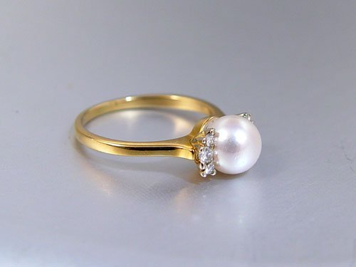 1221: 14k TIFFANY & CO PEARL RING Size 8 - 2