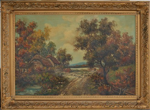 1290: ENGLISH COTTAGE PAINTING SIGNED B.M. BROWN
