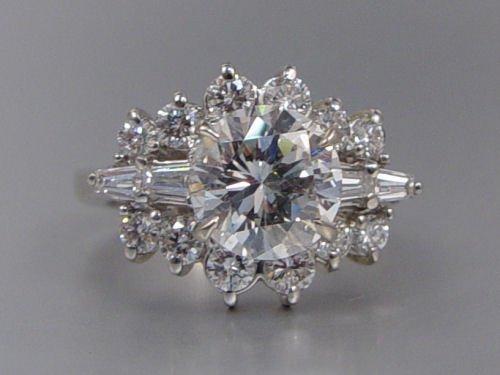 1021: PLATINUM 2.64 CT DIAMOND W/ 1.25 CTW  RING SIZE 8