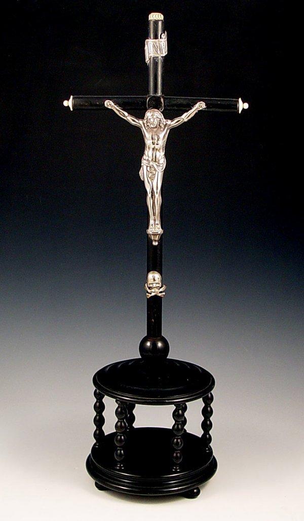 1019: FRENCH SILVER CHRIST ON EBONY CRUCIFIX